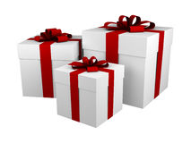 Three white gift boxes with red ribbon and bow. Isolated on white vector illustration