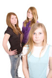 Three white girls teenagers Stock Images