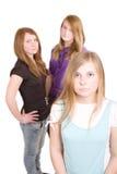 Three white girls teenagers Stock Images