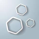Three White Hexagon Rings Stock Photo