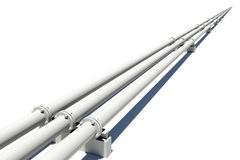 Three white industrial pipes stretching into Stock Photos