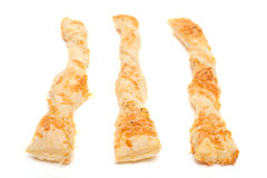 Three white isolated cheese sticks Royalty Free Stock Photos