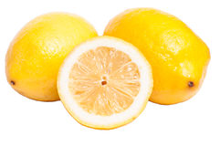 Three white isolated lemons Royalty Free Stock Photos