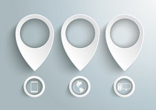 Three White Location Markers IT Infographic PiAd. Three white location markers on the grey background. Eps 10  file Royalty Free Stock Images