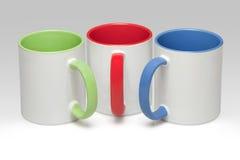Three white mugs Royalty Free Stock Images