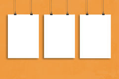 Three white paper poster mock up, Wall Mock up. Three white paper poster mock-up Royalty Free Stock Image
