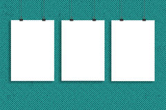 Three white paper poster mock up, Wall Mock up. Three white paper poster mock-up Royalty Free Stock Photo