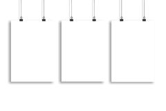Three white paper poster mock up, Wall Mock up. Three white paper poster mock-up Stock Photos