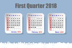 Calendar for the first quarter of the year 2018 with snowflakes. Three white paper sheets with calendar for the first quarter of the year 2018 on the trendy blue Royalty Free Stock Photo