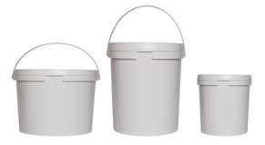 Three white plastic buckets Stock Photography