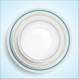 Three white plates stacked on top of each other Stock Photography