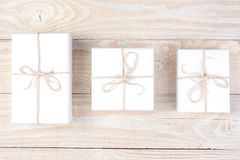 Three White Presents Royalty Free Stock Photography