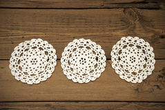Three White Round Place Mat In A Row Stock Image