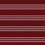 Three white row knitting pattern on dark red background. Vector illustration image Stock Photo