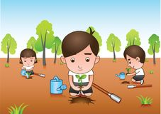 Three white shirt volunteer planting tree for afforest Stock Image
