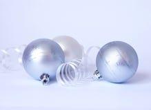 Three White Spheres And Streamer Royalty Free Stock Photos