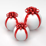Three White Spherical Gift Boxes Royalty Free Stock Photo