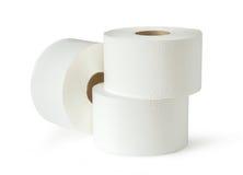 Three white toilet paper rolls. In closeup Royalty Free Stock Photos