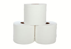 Three white toilet rolls Stock Photos