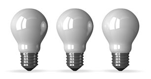 Three white tungsten light bulbs, front view Stock Photo