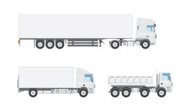 Three white vector trucks Royalty Free Stock Photography