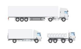 Three white vector trucks royalty free stock photography