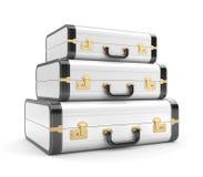 Three white vintage suitcase Stock Image