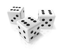 Three white win dices. Three 3D white win dices isolated on white Royalty Free Stock Image