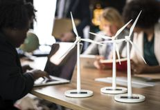Three White Windmills Figure Table Decors stock photo