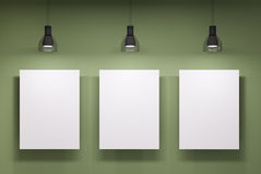Three whiteboards over the green wall Royalty Free Stock Image