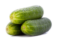 Three whole cucumbers Stock Photo