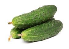 Three whole cucumbers isolated stock photo