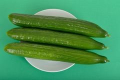 Three Whole Cucumbers Royalty Free Stock Image