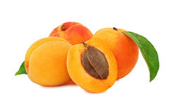 Three whole and a half apricots with green leaves (isolated) Royalty Free Stock Photo