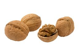 Three whole and half walnuts Royalty Free Stock Image