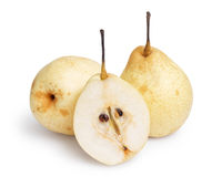 Three whole nashi pears Stock Photos