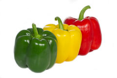 Three whole Paprika peppers Stock Photo