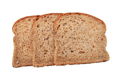 Three whole wheat bread slices Royalty Free Stock Photos