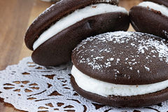 Three Whoopie Pies or Moon Pies royalty free stock image