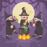 Three wicked old witches brewing a potion. Three evil sisters. Dancing around the fire and cauldron in a dark forest at night. Halloween character flat Royalty Free Stock Image
