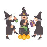 Three wicked old witches brewing a potion Royalty Free Stock Photos