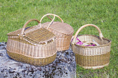 Three wicker baskets Royalty Free Stock Image