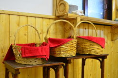 Three wicker baskets Royalty Free Stock Images