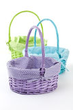 Three Wicker Baskets in Variety of Colors Royalty Free Stock Images