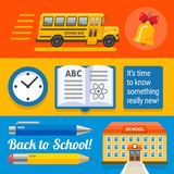 Three wide school designs with bus, book, buinding royalty free stock photos