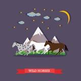 Three wild horses galloping on night nature background, vector illustration Stock Photos