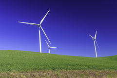 Three wind turbine for natural power Royalty Free Stock Images