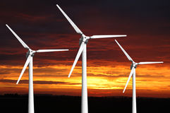 Three wind turbines Royalty Free Stock Photos