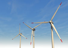Three Wind Turbines Stock Photo