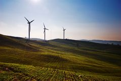Three wind turbines royalty free stock photography